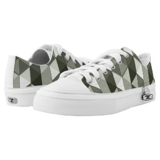 Cool Grayscale triangles geometric pattern Low Tops