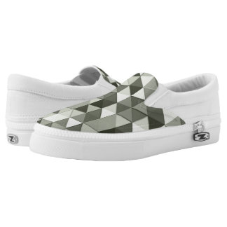 Cool Grayscale triangles geometric pattern Slip On Shoes