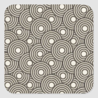 Cool green and cream circles pattern image print square sticker