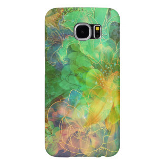Cool Green And Yellow Tones Abstract Floral Samsung Galaxy S6 Cases
