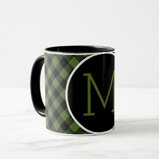 Cool Green Black Lumberjack Tartan Squares Pattern Mug