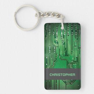 Cool Green Computer Circuit Board Monogram Key Ring