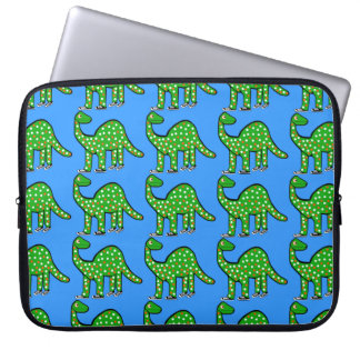 Cool Green Dinosaur Laptop Case Kids Gift