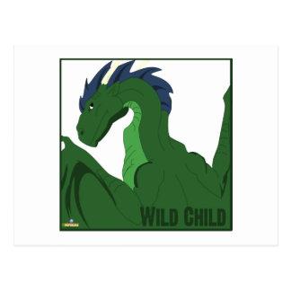 Cool Green Dragon Blue Hair Wild Child Postcard