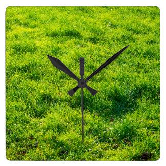 Cool Green Grass Print Wall Clock