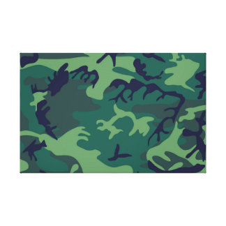 Cool Green Military Camouflage Design Stretched Canvas Print