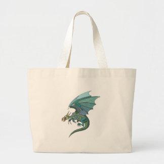 cool green-toned dragon jumbo tote bag
