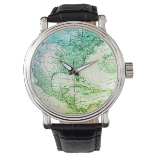 Cool Green Vintage Map of North America Watch