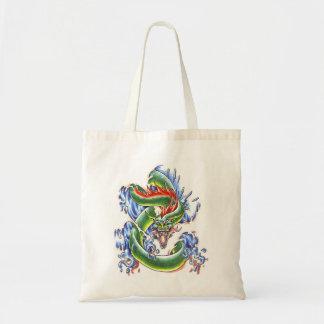 Cool  green water dragon  tattoo bag