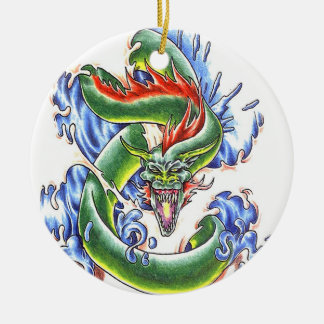 Cool Green Water Dragon  tattoo style ornament