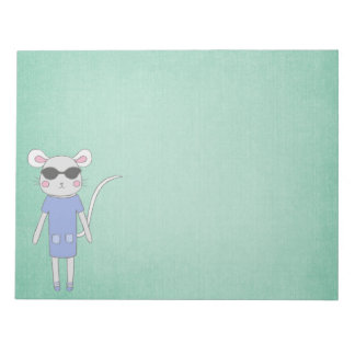 Cool Green With Cute Mouse in Purple Notepad