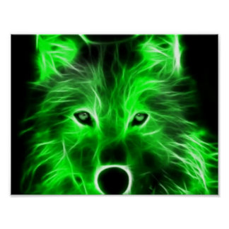 Cool green wolf poster