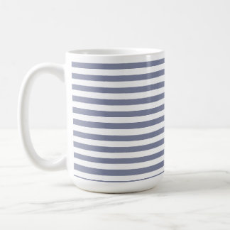 Cool Grey Horizontal Stripes; Striped Basic White Mug