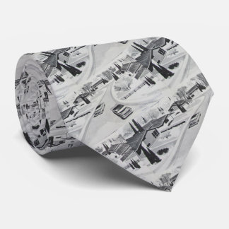 Cool Grey Mid-century Modern Motif Tie