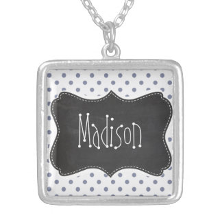 Cool Grey Polka Dots; Retro Chalkboard Necklaces