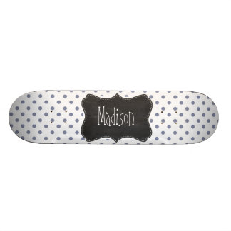 Cool Grey Polka Dots; Retro Chalkboard 20 Cm Skateboard Deck