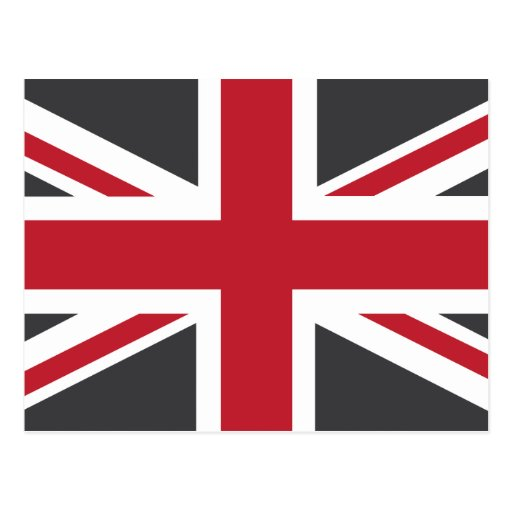Cool Grey Red Union Jack British(UK) Flag Post Card