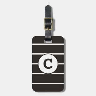 Cool Grey White Striped Monogram Luggage Tag