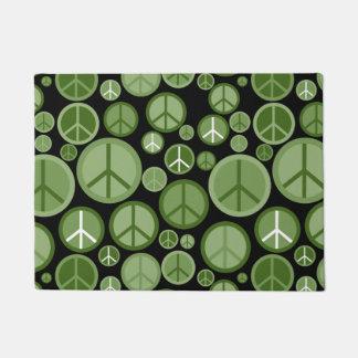 Cool Groovy Green Peace Symbols Doormat