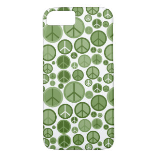 Cool Groovy Sage Green Peace Symbols iPhone 7 Case