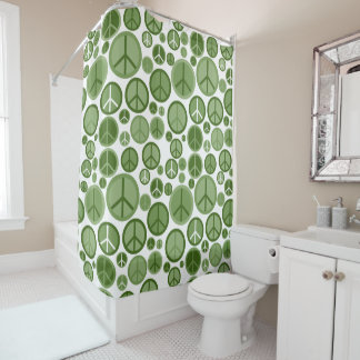 Cool Groovy Sage Green Peace Symbols Shower Curtain