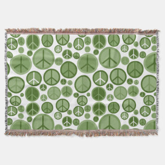 Cool Groovy Sage Green Peace Symbols Throw Blanket