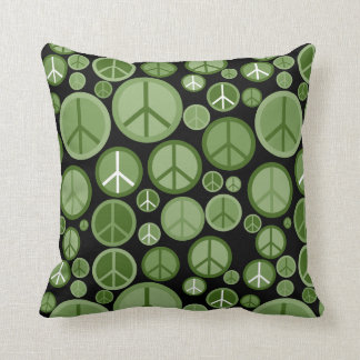 Cool Groovy Sage Green Peace Symbols Throw Pillow
