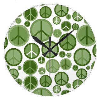 Cool Groovy Sage Green Peace Symbols Wall Clocks