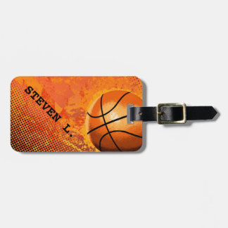 Cool Grunge Basketball Abstract Art Personalized Bag Tag