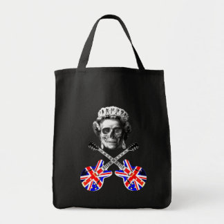 Cool grunge British music skull and crossbones, Grocery Tote Bag