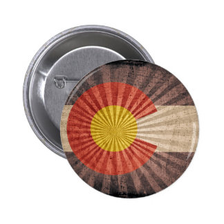 Cool Grunge Colorado Flag Pinback Buttons
