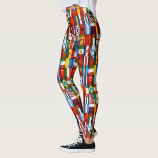 Cool Grunge Flags of the World Yoga Running Pants