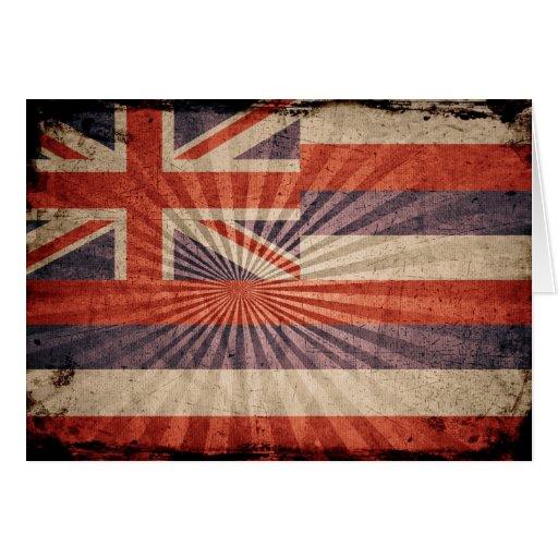 Cool Grunge Hawaii Flag Card