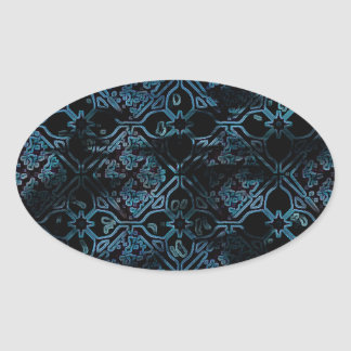 Cool Grunge Medieval Print Oval Sticker