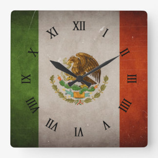 Cool Grunge Mexico Mexican Flag Square Wall Clock