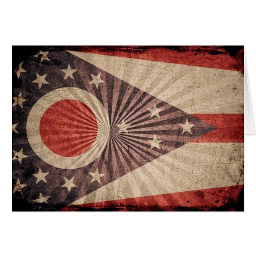 Cool Grunge Ohio Flag Card