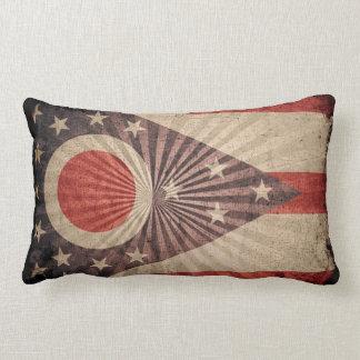 Cool Grunge Ohio Flag Throw Pillow