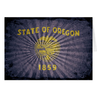Cool Grunge Oregon Flag Card