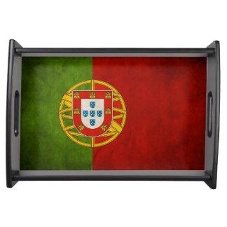 Cool Grunge Portugal Flag Bandeira de Portugal Serving Tray
