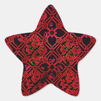 Cool Grunge Red Medieval Print Star Sticker