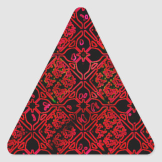 Cool Grunge Red Medieval Print Triangle Sticker