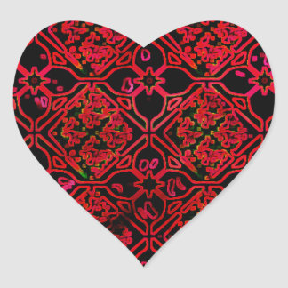Cool Grunge Red Medieval Print Heart Sticker