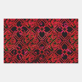 Cool Grunge Red Medieval Print Rectangular Sticker