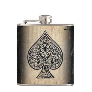 Cool Grunge Retro Artistic Poker Ace Liquor Flask