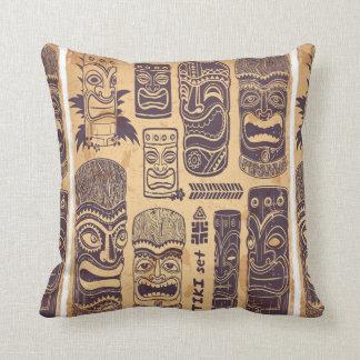 Cool Grunge Vintage Tiki Set Throw Pillow