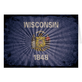 Cool Grunge Wisconsin Flag Note Card