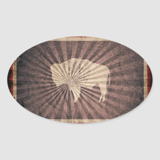 Cool Grunge Wyoming Flag Oval Sticker