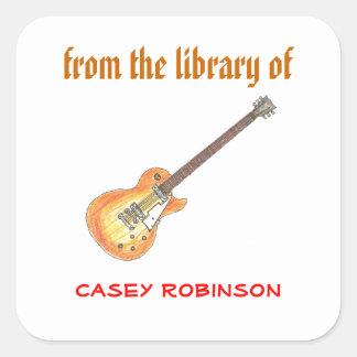 Cool guitar personalized bookplates square sticker