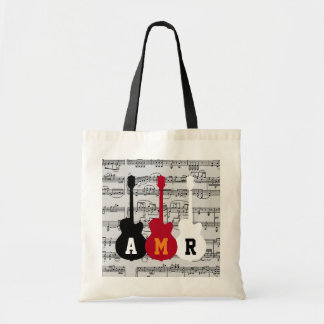 cool guitars with musical notes and initials tote bag