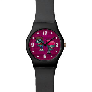 Cool Guy and Punk Rock Girl Zombie Illustration Watch